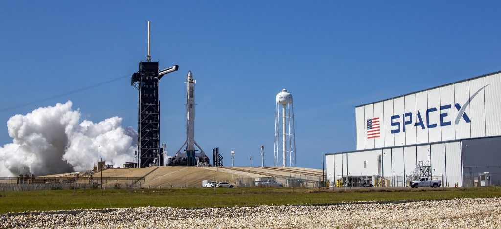 Rocket launch at SpaceX center in  Cape Canaveral.