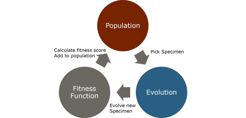 The cycle of evolution, creating new specimen from the current population through evolution.